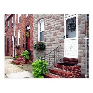 Quaint Baltimore Neighborhood Scene Postcard