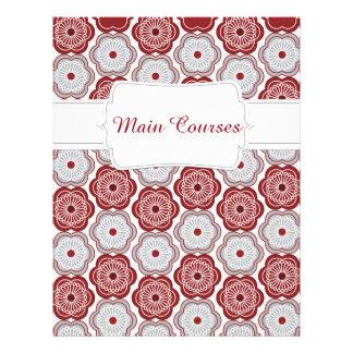 Quaint Maroon & Grey Floral Recipe Divider Letterhead