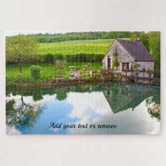 Quaint photo, French cottage reflected in a pond: Jigsaw Puzzle