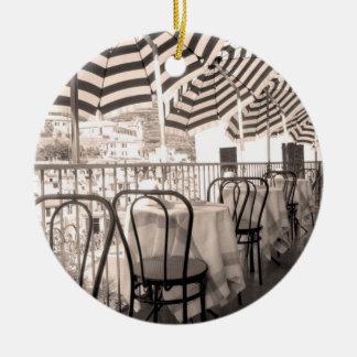 Quaint restaurant balcony, Italy Round Ceramic Ornament