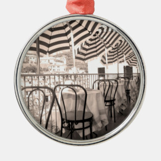 Quaint restaurant balcony, Italy Silver-Colored Round Ornament