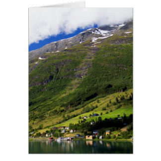Quaint Village by the fjord, Norway Card