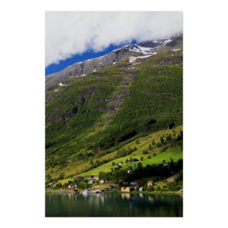 Quaint Village by the fjord, Norway Poster