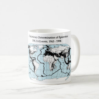 Quake epicenters, 1963-98 coffee mug