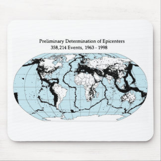 Quake epicenters, 1963-98 mouse pad