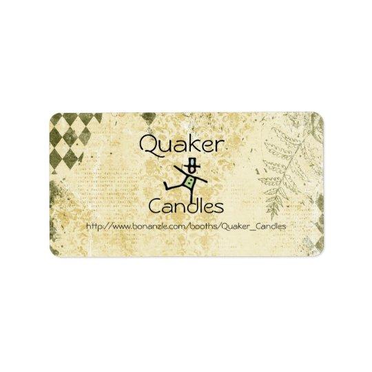 Quaker Candle labels
