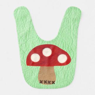 Quaker faux quilt felt mushroom Baby Bibs