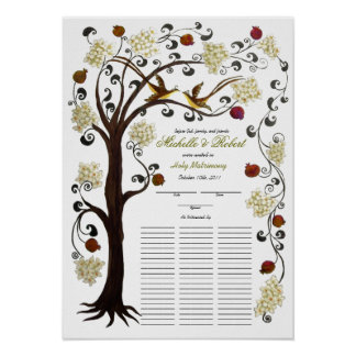 Quaker Wedding, 60 guests -Tree of Life, ivory Poster