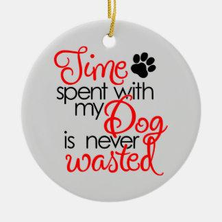 Quality Dog Time Round Ceramic Ornament