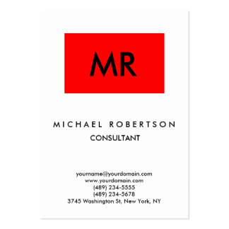 Quality Red Stripe White Black Monogram Unique Large Business Card