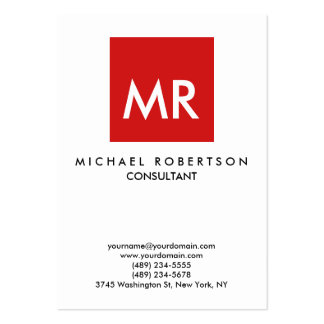 Quality Red White Monogram Unique Large Business Card