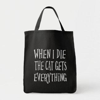 QUAND JE MEURS LE CAT OBTIENT À TOUT la Sac En Toile Épicerie