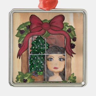 Quantum Cutie Christmas Window Girl Metal Ornament