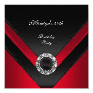 quarantième Bijou rouge de diamant de noir de fête Carton D'invitation 13,33 Cm