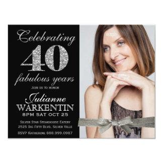 Quarantième célébration d'anniversaire de photo invitation