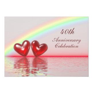 quarantième Coeurs de rubis d'anniversaire Carton D'invitation 12,7 Cm X 17,78 Cm