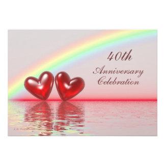quarantième Coeurs de rubis d'anniversaire Carton D'invitation