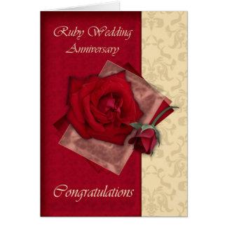 quarantième Félicitations rouges d'anniversaire de Carte De Vœux