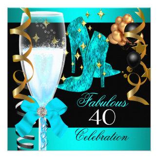 Quarantième fête d'anniversaire de l'or 40 bleu tu invitations personnalisées