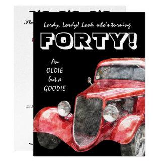 quarantième Fête d'anniversaire pour lui - voiture Carton D'invitation 10,79 Cm X 13,97 Cm