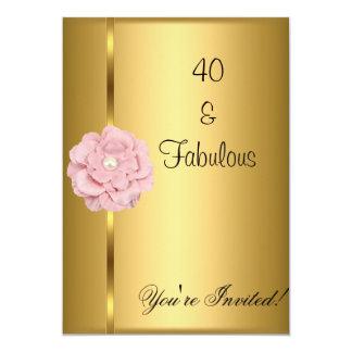 Quarantième fleur fabuleuse de rose de perle d'or carton d'invitation  12,7 cm x 17,78 cm