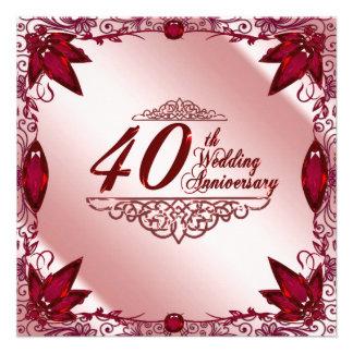quarantième Invitation d'anniversaire de mariage