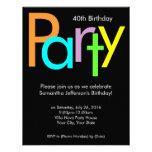 Quarantième invitation de fête d'anniversaire de c