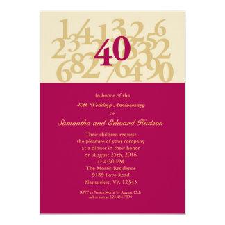 quarantième Invitation rouge d'anniversaire de