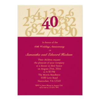 quarantième Invitation rouge d'anniversaire de mar