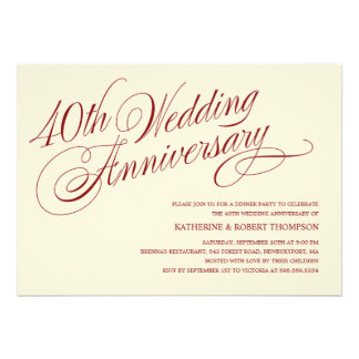 quarantième Invitations d anniversaire de mariage