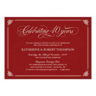 Quarantième invitations d anniversaire de rubis fo