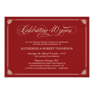 Quarantième invitations d'anniversaire de rubis