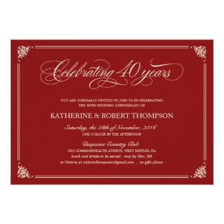 Quarantième invitations d'anniversaire de rubis fo