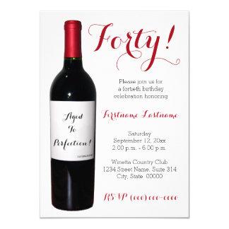 quarantième Invitations de bouteille de vin