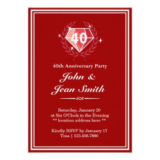 Quarantième invitations de fête d anniversaire de