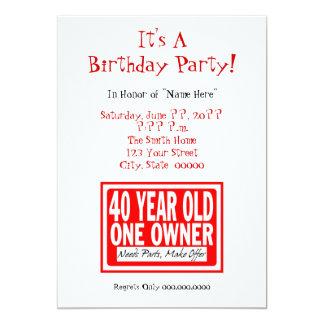 quarantième Invitations de fête d'anniversaire