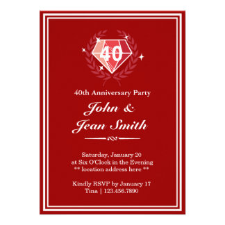 Quarantième invitations de fête d'anniversaire de