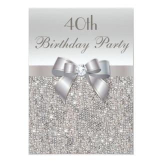 quarantième Paillettes, arc et diamant d'argent de Carton D'invitation 12,7 Cm X 17,78 Cm