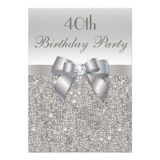 quarantième Paillettes, arc et diamant d'argent de Carton D'invitation