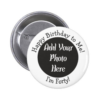 Quarantième photo personnalisée d'anniversaire macaron rond 5 cm