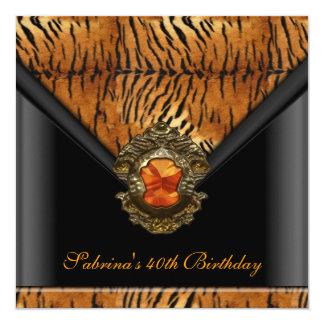 quarantième Rayure d'orange de noir de tigre de Carton D'invitation 13,33 Cm