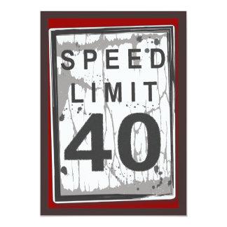 quarantième Signe sale de limitation de vitesse de Carton D'invitation 12,7 Cm X 17,78 Cm