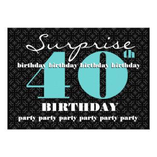 quarantième Turquoise W1858 de noir d'anniversaire Carton D'invitation