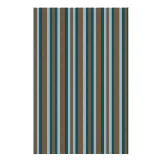 Quarry Teal Mod Alternating Stripes Stationery