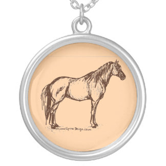 Quarter Horse Simple Sketch Silver Plated Necklace