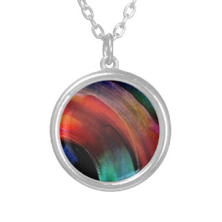 Quarter Round Colors Silver Plated Necklace
