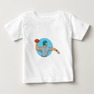 Quarterback QB Throwing Ball Motion Circle Drawing Baby T-Shirt