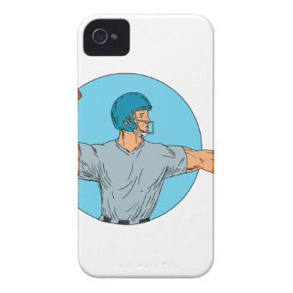 Quarterback QB Throwing Ball Motion Circle Drawing iPhone 4 Covers