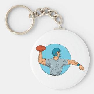 Quarterback QB Throwing Ball Motion Circle Drawing Keychain
