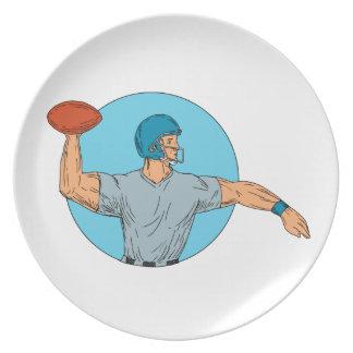 Quarterback QB Throwing Ball Motion Circle Drawing Plate